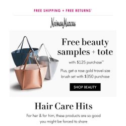 [Neiman Marcus] Time's almost up! Free beauty samples + travel-size brush set