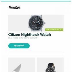 [Massdrop] Citizen Nighthawk Watch, Spyderco Para 3 Compression Lock Knife, Victorinox Chrono Classic Quartz Watch and more...