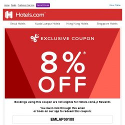 [Hotels.com] Congratulations! You've qualified for an 8% coupon