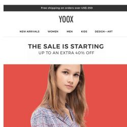 [Yoox] S-A-L-E: starting today an EXTRA 40% OFF