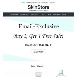 [SkinStore] Beauty Sale: Buy 2, Get 1 Free!