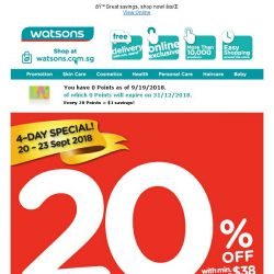 [Watsons] 4-Day Only Storewide Sales @ 20% OFF + $8 CASH Voucher for participating brands