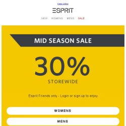 [Esprit] Mid Season Sale is on NOW!