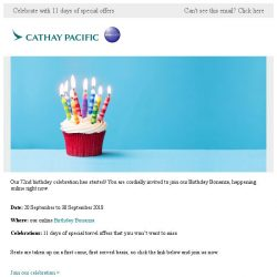 [Cathay Pacific Airways] Join our Birthday Bonanza now