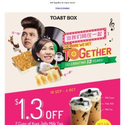 [BreadTalk] Enjoy $1.30 OFF 2 cups of Kopi Jelly Milk Tea