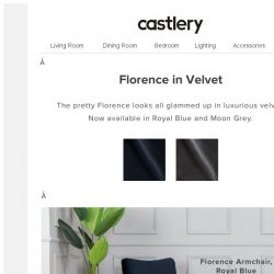 [Castlery] Florence now in Velvet, and looking great!