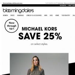 [Bloomingdales] Michael Kors: Save 25% for a limited time