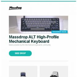 [Massdrop] Massdrop ALT High-Profile Mechanical Keyboard, Massdrop x ArmourLite Ember T100 Tritium Watch, Glycine Combat Sub Automatic Watch and more...