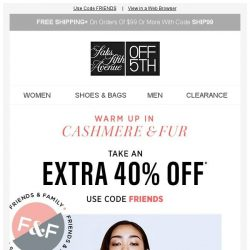 [Saks OFF 5th] Crazy in Luxe: Extra 40% off cashmere & fur + We picked styles just for YOU!