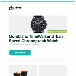 [Massdrop] Montblanc TimeWalker Urban Speed Chronograph Watch, Darn Tough Men's Steely Socks (2-Pack), Pioneer Elite VSX Series AV Receivers and more...
