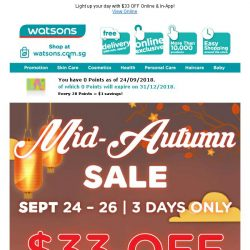 [Watsons] 3 DAYS ONLY: Mid-Autumn Online Sale! 🌕🐇