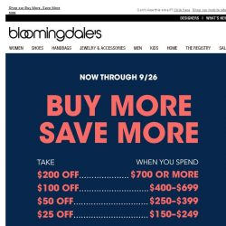 [Bloomingdales] Take $25-$200 off--3 days only!