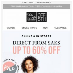 [Saks OFF 5th] New Direct From SAKS! Be the first to shop these... + We picked styles just for YOU!