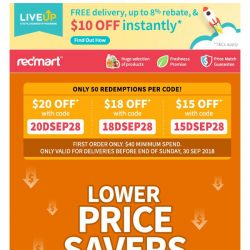 [Redmart] $20 OFF $40 spent.. Hurry before it's gone!