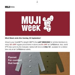 [Muji] MUJI Week ends this Sunday, 30 September!