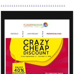[Floweradvisor] Save 40% off so you can enjoy more of your weekend!