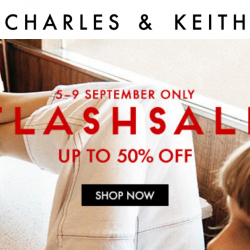 Charles & Keith: Flash Sale with Up to 50% OFF Selected Shoes, Bags, Accessories & More