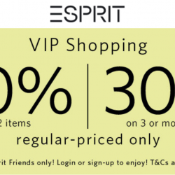Esprit: VIP Sale with 20% OFF on 2 Items & 30% OFF on 3 or More Items In Stores & Online!