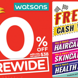 Watsons: Storewide 20% OFF with Minimum $38 Spend + $8 CASH Voucher for Participating Brands!