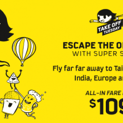 Scoot: Take Off Tuesday with Fares to Taiwan, Australia & More from S$109!