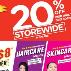 Watsons: Storewide 20% OFF with Minimum $38 Spend + FREE $8 Cash Voucher In Stores & Online!