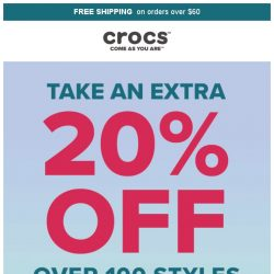 [Crocs Singapore] Look NO Further– Extra 20% off on over 100 items‼