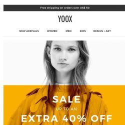 [Yoox] Sale: up to an EXTRA 40% OFF even more items