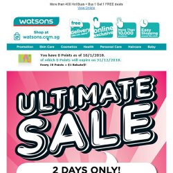 [Watsons] 2-Day only Ultimate Sales! FREE $8 Cash VOUCHER up for grabs 👉