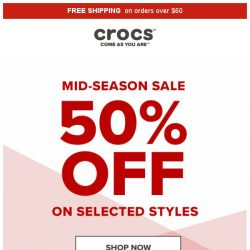 [Crocs Singapore] Hurry! Mid-Season Sale Up to 50% Off – One week ONLY!