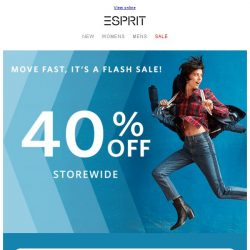 [Esprit] FLASH SALE - 40% off storewide!