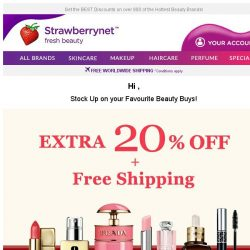 [StrawberryNet] 20% Off All Beauty  + FREE Shipping is YOURS for the taking!