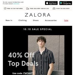 [Zalora] 💯 This SALE deserves a 10/10: Up to 40% off!