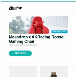 [Massdrop] Massdrop x AKRacing Rosso Gaming Chair, Vibram Furoshiki Shoes, Spinnaker Cahill Diver Automatic Watch and more...