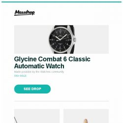 [Massdrop] Glycine Combat 6 Classic Automatic Watch, Pok3r RGB Backlit Mechanical Keyboard, Woodlore Combination  Shoe Trees (2 Pairs) and more...