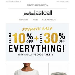 [Last Call] You're selected → Extra 10% + 30% off women's apparel, shoes, & bags
