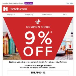 [Hotels.com] Congratulations! You've qualified for a 9% coupon