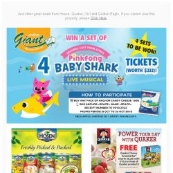 [Giant] 😍OMG! Chance to ✨ Win 4 Baby 🐬 Shark Live 🎶 Musical Tickets and many more!