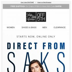 [Saks OFF 5th] Direct from Saks Flash Sale is online NOW: Up to 80% OFF!