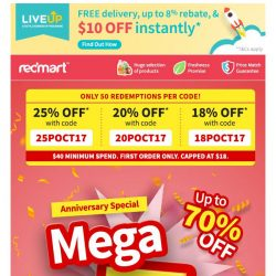 [Redmart] ⚡️150 coupon codes up for grabs!⚡️