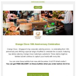 [CaterSpot] Orange Clove's 10th Anniversary menu + free delivery