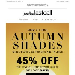 [Last Call] Jewelry in rich autumn shades + 45% off 1 item