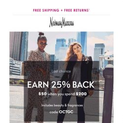[Neiman Marcus] Last chance to earn 25% back (just for shopping!)