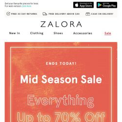 [Zalora] Everything Up to 70% Off | Mid Season Sale ends today!