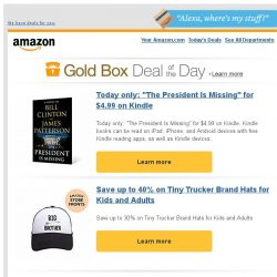"[Amazon] Today only: ""The President Is Missing"" for..."