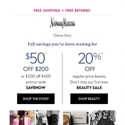 [Neiman Marcus] $50 off + 20% off beauty? Yes, please!
