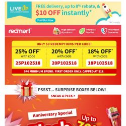 [Redmart] 150 coupon codes up for grabs!
