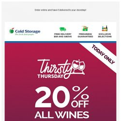 [Cold Storage] ⚡🍷 24HRS Only - 20% OFF All Wines - Glasses Up & Wine Down!🍷⚡