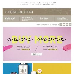 [COSME-DE.com] 🔥Buy more Save more coupon! Top Brands up To 70 % Off 💄💋
