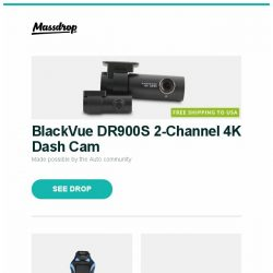[Massdrop] BlackVue DR900S 2-Channel 4K Dash Cam, Clutch Gaming Chairs, KBDFans 5° Aluminum 60% Mechanical Keyboard Kit and more...