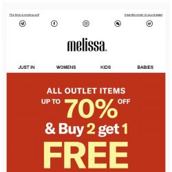 [Mdreams] Up to 70% OFF + Buy 2 Get 1 FREE. Shop now at Melissa outlet